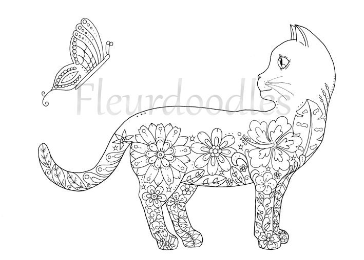 art therapy coloring pages cat - photo#12
