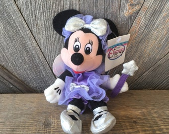 81a58f35e01 Vintage Minnie Mouse Beanie Babies  Sugar Plum Fairy Purple Girly Minnie Mickey  8 in Mini Bean Bag  The Disney Store Exclusive Stuffed Toy