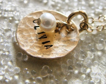 One Dainty Hammered Gold Disc Stamped With Your Name  --- Personalized It --wedding- bride - bridesmaid - birthday-new mother - Simag