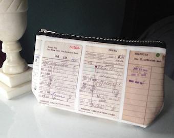 Library Card Catalog Bag—Pouch, Wristlet, Zipper Bag, Pencil Case, Makeup Bag, Clutch