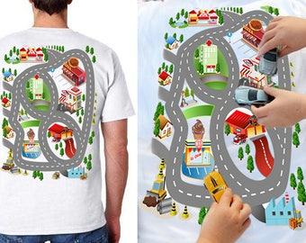 Train Play Mat T-Shirt, Father's gift, Train Map Shirt, Gift T shirt, T shirt For Dad. Play Mat T shirt