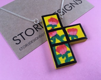 Hand-painted floral Tetris necklace