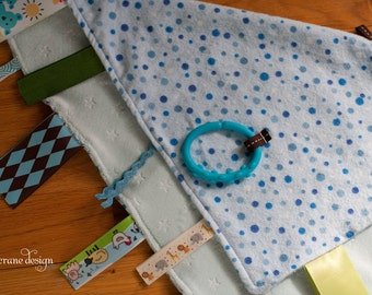 Stars and Spots . Ribbon Blankie . Spotted Blue Flannel and Blue Minky