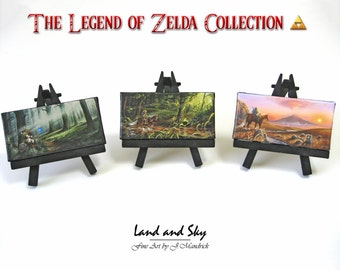 2x4 Legend of Zelda Collection Set, Link, Navi, Epona, Mini Fridge or Easel Paintings by J. Mandrick