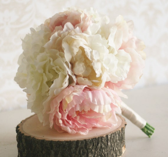 Peony Flower Bouquet Wedding: Items Similar To Silk Bride Bouquet Peony Flowers Peonies