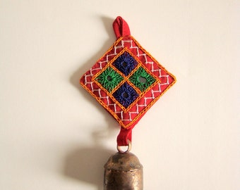 50% OFF-Home Decor (2 Color Choices) Door Bell Hanging with Gujarati Kutch Embroidered Fabric from West India
