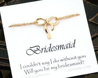 Set of 4,Bow bracelet,Bridesmaid gifts,Bridesmaid card with bow bracelet,Silver or gold,Wedding party gift,Tie a bow,friendship