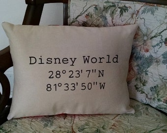 Latitude Longitude Disney World Pillow Embroidered