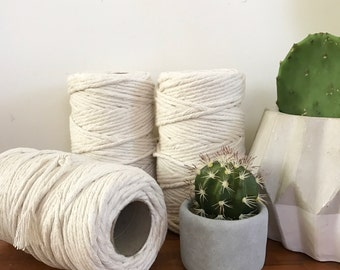 Macrame Cord 5mm x 1kg (approx 150m)  Single Twisted, Easy to Unravel/Fringe, Soft Cotton