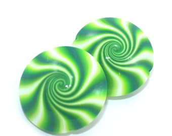 Polymer Clay beads in greens and white, Swirl lentil beads, unique pattern, set of 2 elegant beads