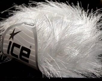 38Yd White Extra Long Eyelash Yarn 13268 Ice Luxurious White Fun Fur 50 Gram