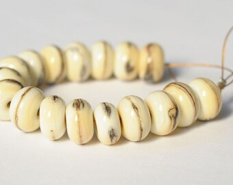 Spacers Rondelle Dotted Glass Lampwork - Ivory 17 Beads Set