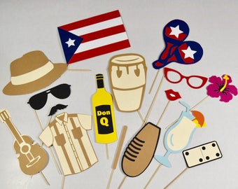 Puerto Rico photo booth props 16 pc