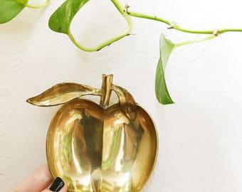 Vintage brass apple dish, ring dish, coin dish