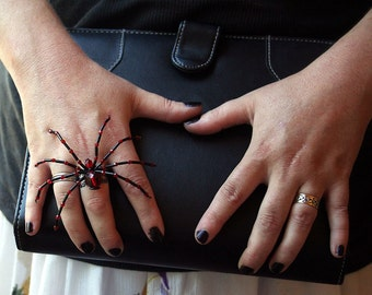 Gothic Spider Ring - Ruby Red and Black Beaded