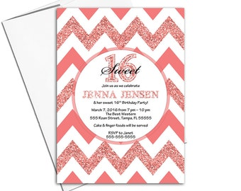Coral sweet sixteen invites for girls | chevron birthday invitation for teens | printable or printed - WLP00359