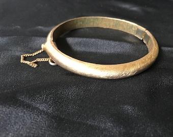 Vintage Crown Trifari Brushed Gold Bracelet Bangle, Trifari Hinged Clamper with Safety Pin Bangle Bracelet
