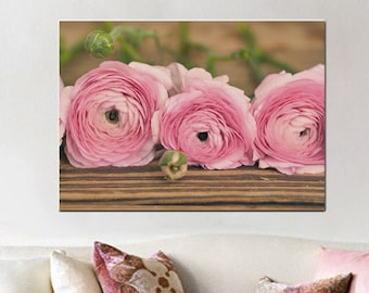 Oversized wall art, rustic shabby chic canvas art over bed, still life extra large, ranunculus flower gallery wrap, brown pink home decor