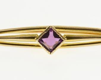 10k Amethyst Princess Cut Curved Bar Pin/Brooch Gold