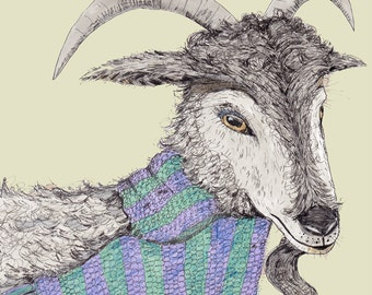 Gentle goat, funny, quirky card