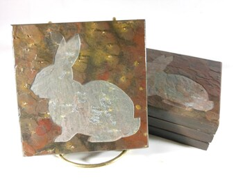 Rabbit Coasters - Carved Stone Coasters, Natural Drink Coasters, Bunny Coasters, Animal Coasters, Etched Slate Coasters Gift