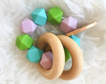 Teething Toy Handmade Teether Wooden Rattle Teether Toy Baby Toy Sensory Toy Silicone Teether Silicone Teal Teething Toy Green Purple Toy