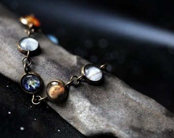 Solar System Bracelet - Milky Way Galaxy, Planet Jewelry - Astronomy, Universe, Planetary Jewelry - Unique Outer Space Jewellery