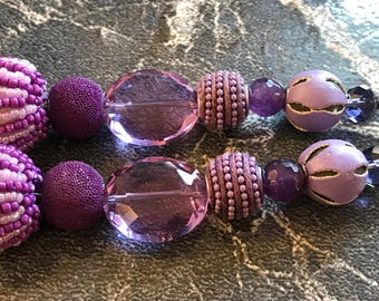 "1 SET of 2 STRANDS AVAILABLE - Shades of purple/lavender 7"" strings of chunky glass beads"