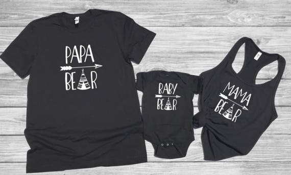 Papa Bear Baby Bear matching t shirts, matching t shirts, fathers day, baby shower, birthday