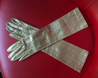 Metallic gold mint elbow formal opera gloves vintage 60's