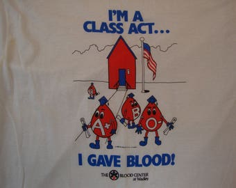 Vintage 80's The Blood Center At Wadley Blood Donner White T Shirt Size L