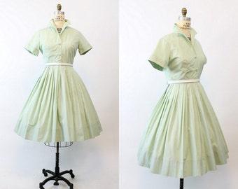50s Dynasty Dress Medium Large / 1950s Cotton Shirtwaist Dress / Mint Apple Dress