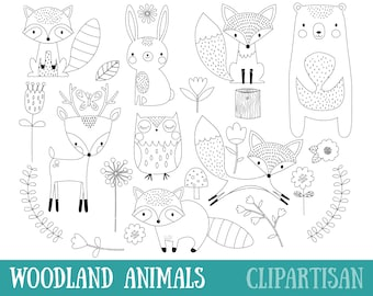 Woodland Animals Digital Stamp | Line Art | EPS Vector Graphics | Coloring  Page