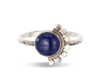 Lapis sunrise sterling silver cabochon ring