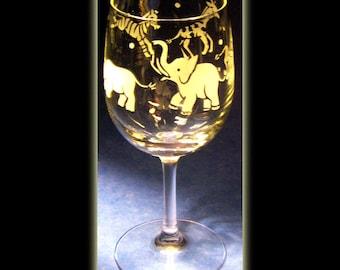 African Plains Animal Wildlife Art Wine Glass