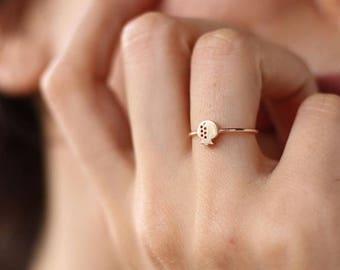14k Gold Pomegranate Ring. 14k Solid Gold  Available in Yellow Gold, White Gold or Rose Gold