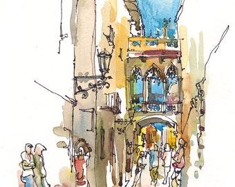 Barcelona, Spain, Gothic Quarter, Barri Gotic intricate bridge- archival print from an original sketch