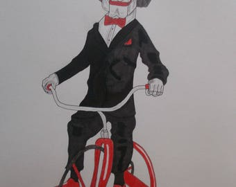 Jigsaw (saw) drawing with colored pencils and markers