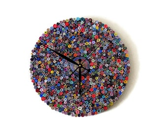 Wall Clock, Unique Wall Clock, Recycled Paper Art,  Home and Living, Decor and Housewares, Eco Friendly Decor, Recycled Art