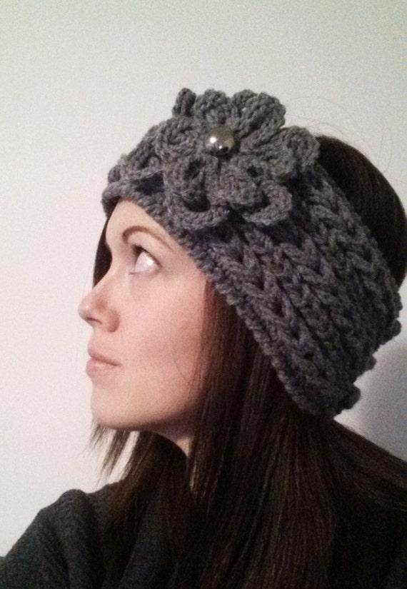 Winter Weave Crochet Headband Pattern Textured Braided Flower