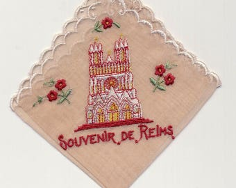 Vintage Hanky Handkerchief Souvenir of Reims France