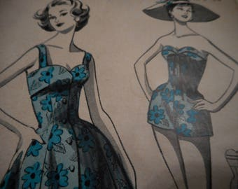 Vintage 1950's Weldon's 5207 Playsuit and Sundress Sewing Pattern Bust 32