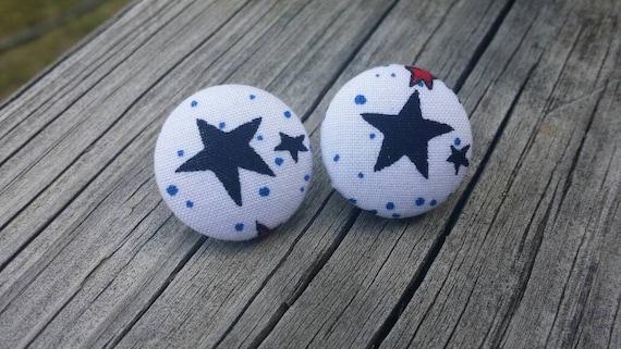 Button Earrings, Star earrings, Costume Jewelry, Fabric Earrings, Round Earrings, Patriotic Earrings, Nickel Free Earrings, Hero Earrings