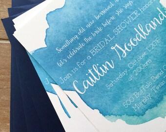 Watercolor invitation, bridal shower invitation, something blue bridal shower, beach bridal shower, blue watercolor, rehearsal dinner