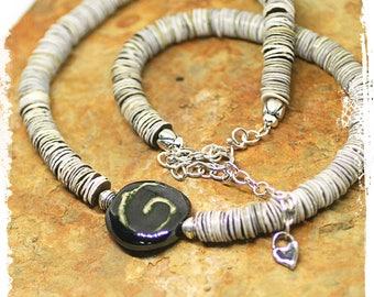 Kazuri Bead Necklace, Sterling Silver Necklace fo Women, Black Gray Short Boho Necklace, Rustic Bohemian Necklace, Neutral Colors,