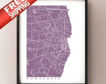 Dumaguete Map Art - Philippines Poster Print