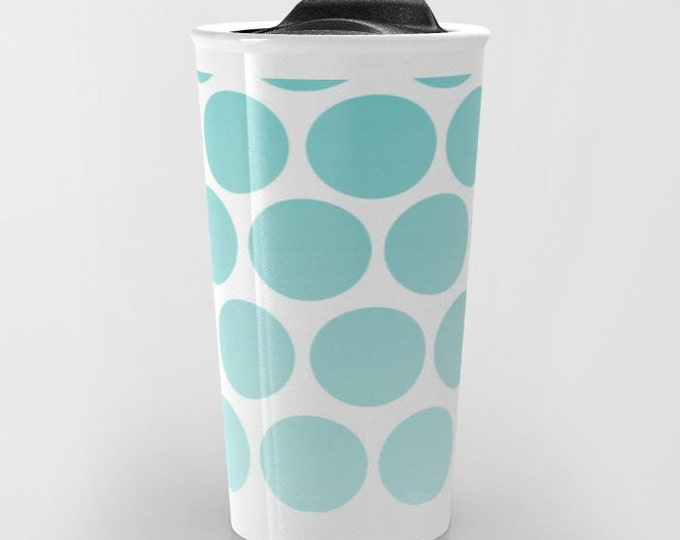 Blue Polka Dot Travel Mug Ceramic - Coffee Travel Mug - Hot or Cold Travel Mug - 12oz Travel Mug -Made to Order