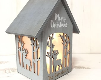 Personalised Merry Christmas Shabby chic Illuminated House, Christmas Light, Christmas Decor, Family Name, Wooden House, Shabby Chic