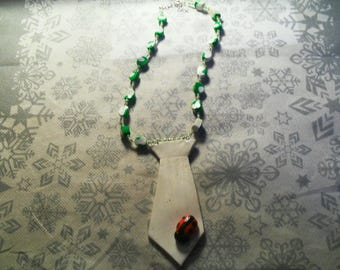 beautiful and original green and white tie and Ladybug necklace UNIQUE