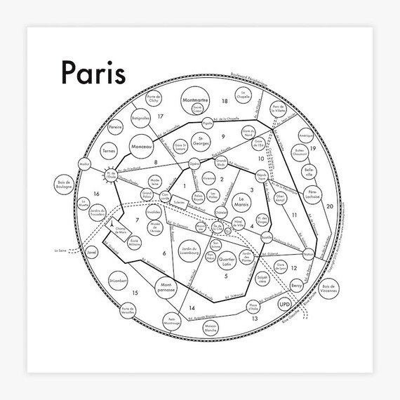 paris map 175 x 175 screenprint beautiful